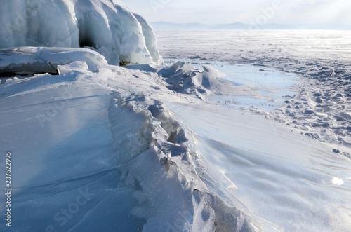 Printed kitchen splashbacks Glaciers Ice blockes and hummocks on frozen lake Baikal