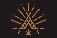 Wigwam With Ornamental Elements. Line Style. Boho Elements. Vector Illustration