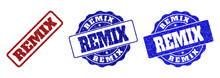 REMIX Scratched Stamp Seals In Red And Blue Colors. Vector REMIX Imprints With Distress Effect. Graphic Elements Are Rounded Rectangles, Rosettes, Circles And Text Labels.