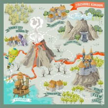 Fantasy Land Adventure Map For Cartography With Colorful Doodle Hand Draw In Vector Illustration