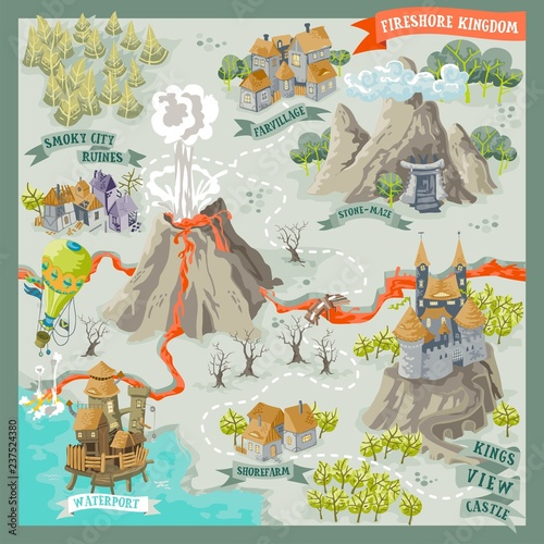 Photo Fantasy land adventure map for cartography with colorful doodle hand draw in vec