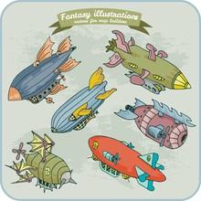 Fantasy Illustration Of Zeppel...