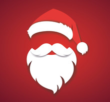 Merry Christmas Vector Concept Red With Christmas Hat And Santa White Beard Illustration Eps10