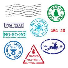 Set Of Christmas Postmarks