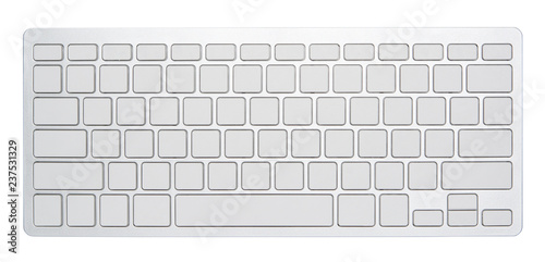 Poster Macarons Blank silver computer keyboard, with empty 78 keys for your idea, isolated on white background.