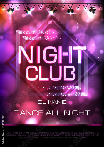 Neon sign. Night club disco party poster