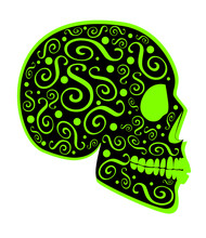 Neon Lime Green Skull Icon Side On With Ornament Details, Abstract Background Vector