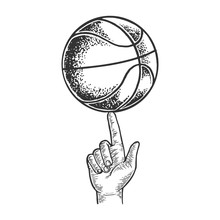 Basketball Spinning On Finger Engraving Vector Illustration. Scratch Board Style Imitation. Black And White Hand Drawn Image.
