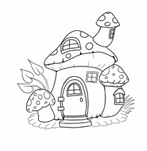 Coloring Page With Mushroom Fa...