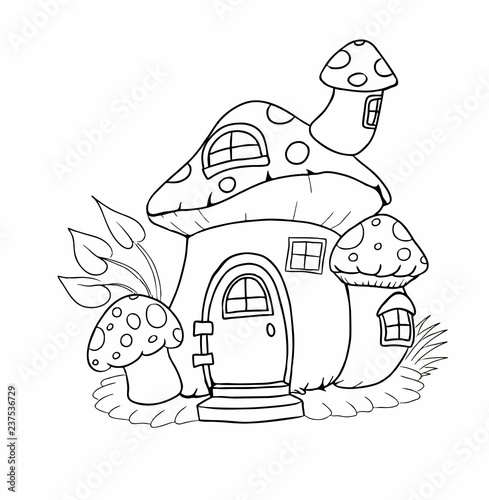 Coloring page with mushroom fairy tale house. Vector illustration