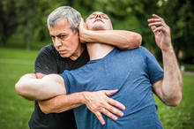 Kapap Instructor Demonstrates Street Fighting Self Defense Techniques. Martial Arts