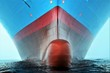 canvas print picture - Front view on the container ship.