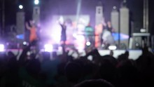 Blured Video Background Happy Audience Jumping Raising Their Hands Air Rock Group Concert Audience Raises Hands Up Applauds In The Rhythm Music Silhouettes Hands Concert Hall Musicians Perform Stage