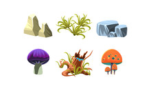 Flat Vector Set Of Cartoon Landscape Elements For Fantasy Mobile Game. Stones, Green Grass, Tree Stump And Mushrooms