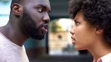 Young Afro-american Couple Arg...