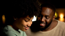 Shy Afro-american Couple On Night Date, Tender Feelings, Trust And Closeness
