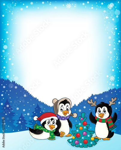 Fotobehang Voor kinderen Christmas penguins thematic frame 2