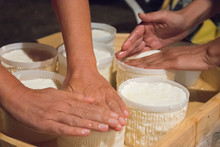 Hands Making Fresh Cheese In T...
