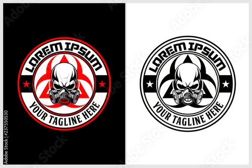 Leinwand Poster skull gas mask with biohazard symbol vector logo template