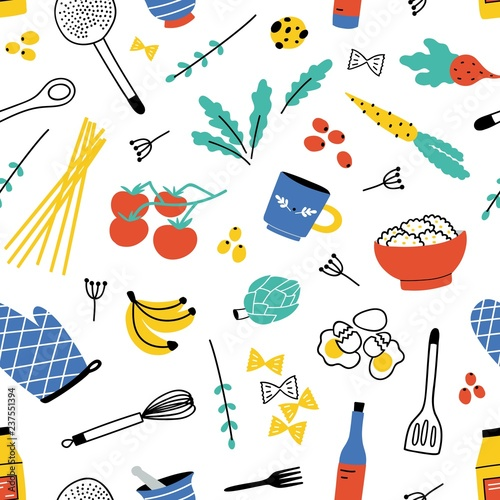 Tapeta do kuchni  colorful-seamless-pattern-with-kitchen-utensils-for-home-cooking-or-food-preparation-fruits-and-vegetables-on-white-background-vector-illustration-in-flat-style-for-textile-print-wrapping-paper