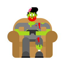 Zombie Gamer Player Video Game. Zombie Guy And Joystick. Dead Man Sitting On Chair Playing Videogame