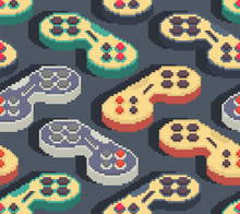 Gamepad Pixel Art Pattern Seamless. Joystick 8bit Background. Video Game Old School Control Lever