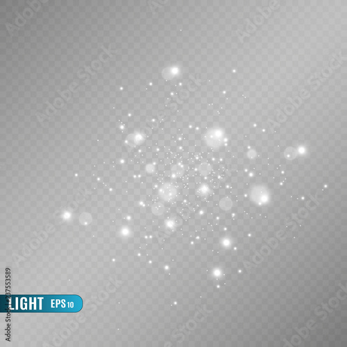 Obraz White sparks and golden stars glitter special light effect. Vector sparkles on transparent background. Christmas abstract pattern. Sparkling magic dust particles - fototapety do salonu