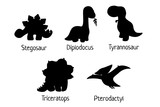 Fototapeta Dinusie - Set of vector baby dino silhouettes - tyrannosaurus, triceratops, pterodactylus, stegosaurus, diplodocus - for logo, poster, banner. For historic event, dinosaur party invitation. Isolated on white