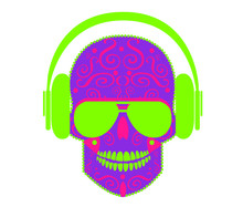 Purple Skull Icon With Neon Green Headphones And Pink Ornament Details