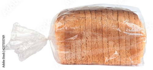 Slika na platnu Sliced bread in plastic bag isolated on white background