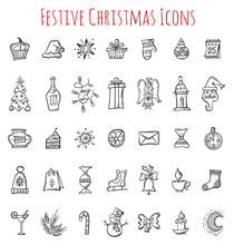 Hand Drawn Christmas Icons. Se...