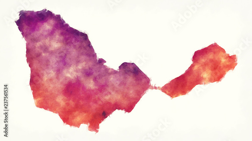 Ceuta Autonomous city watercolor map of Spain in front of a white background