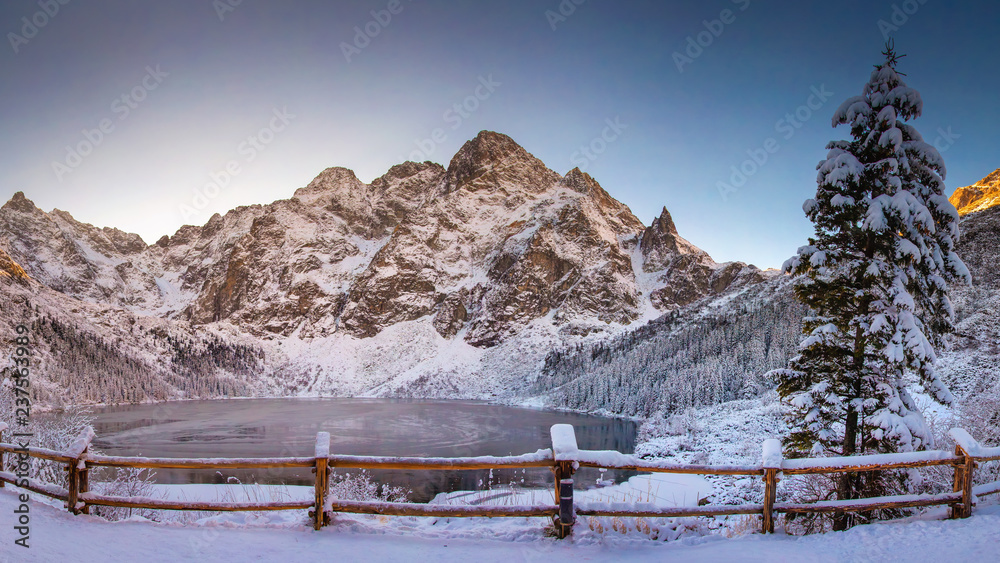 Fototapety, obrazy: Winter mountains with icy lake Sea Eye in Tatra national park. Morskie oko landscape