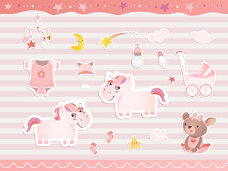 Set of elements for baby shower design with a teddy bear, unicorns, gumshoes. Paper, scrapbook.