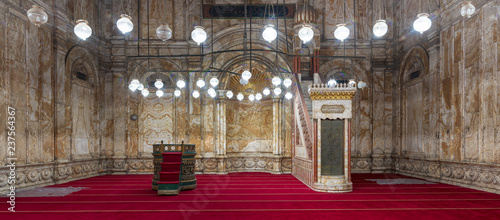 Decorated alabaster (marble) wall with engraved niche (Mihrab) and Platform (Min Fototapeta