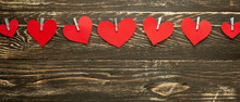 Gingham Love Valentine's Hearts Natural Cord And Red Hearts With A Rustic Snag Texture Background, Copy Space, Layout For Design, Banner.
