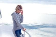 Cruise Sea Motion Sickness Tourist Woman Seasick On Boat Vacation With Headache Or Nausea. Fear Of Travel Or Illness Virus On Cruising Holiday.
