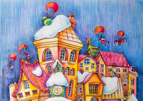 dachy-wspanialego-miasta-na-sniegu-prezenty