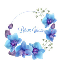 Blue Orchids Watercolor Wreath Vector. Delicate Invitation Card Or Greeting. Wedding Ceremony Decoration Frames
