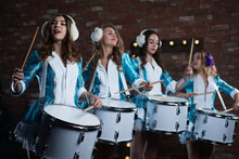 Christmas Snow Maiden Characters, Rock Band, Playing The Drum In The Studio