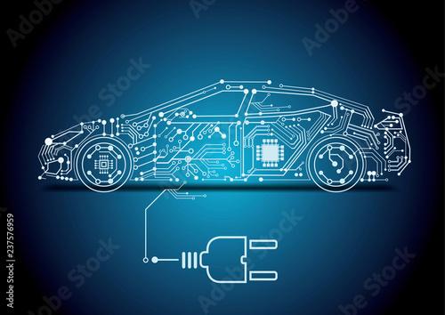 Fotografie, Obraz  autonomous driving with a electric car