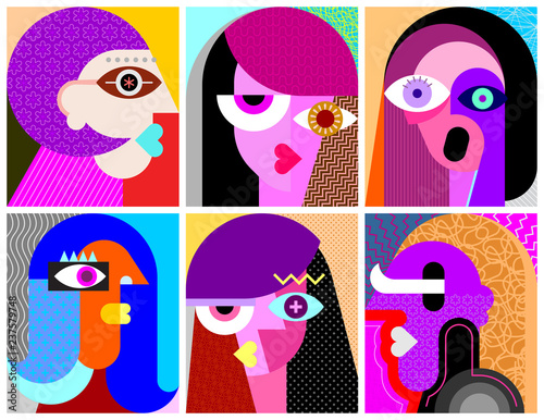 Poster Abstractie Art Six Faces vector illustration
