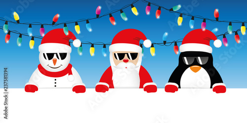 Christmas Fairy Lights Illustration.Cool Snowman Santa And Penguin Cartoon With Sunglasses And