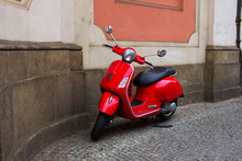 Vintage Scooter On The Old Europe Streets
