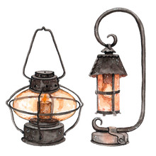 Watercolor Street Light Lamp With Fire From Candle In It.