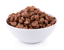 Chocolate Cereals In Bowl On White Background. Cornflakes