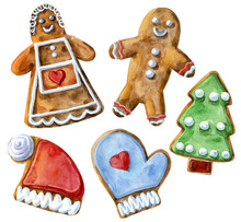 Set Of Christmas Cookies On An Isolated White Background, Watercolor Illustration, Sweets.