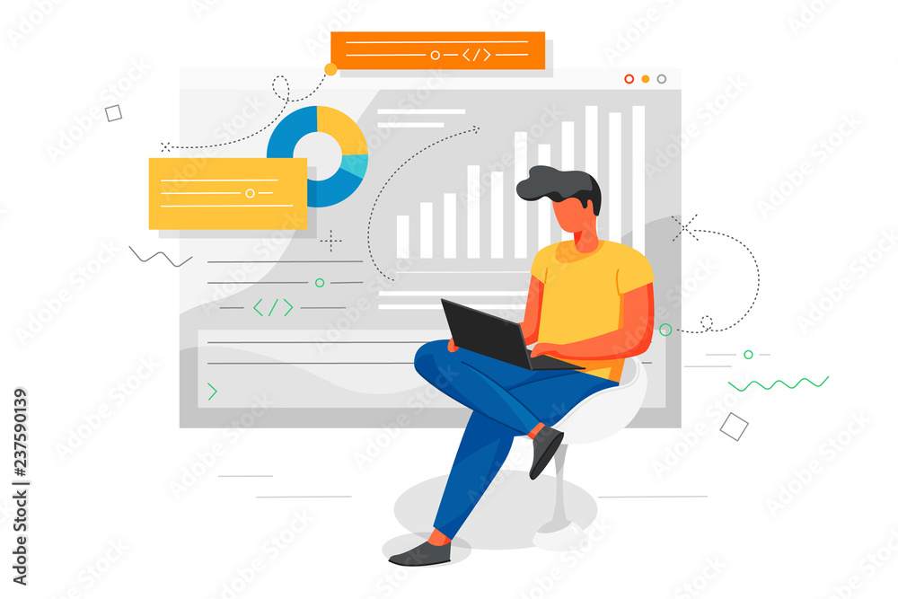 Fototapeta Man works at a laptop and analyzes infographics. Office concept business people. Flat style design Vector illustrations