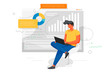 Man works at a laptop and analyzes infographics. Office concept business people. Flat style design Vector illustrations