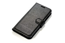 Genuine Black Leather Case For Smartphone Closeup Shot On White Background